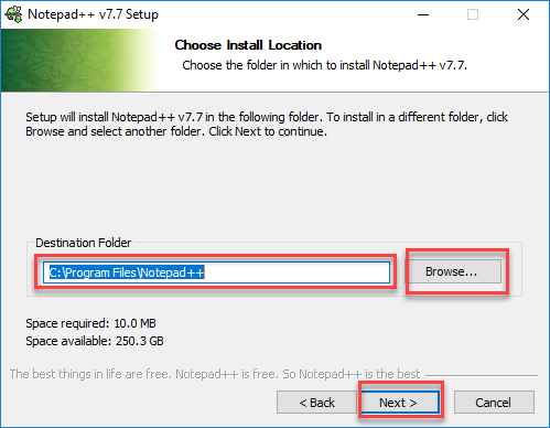 Choose install location