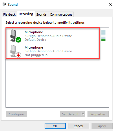 Microphone settings on recording tab