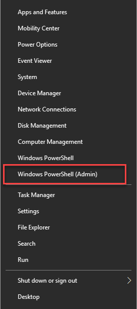 Open PowerShell with administrative permissions