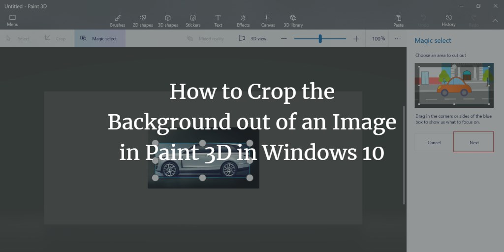 Paint3d remove image background