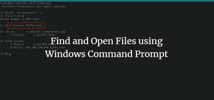 Find files on Windows using command prompt
