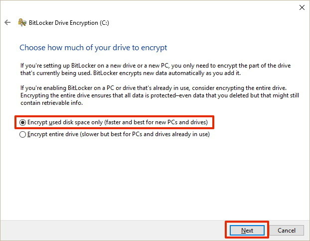 Choose how to encrypt drive