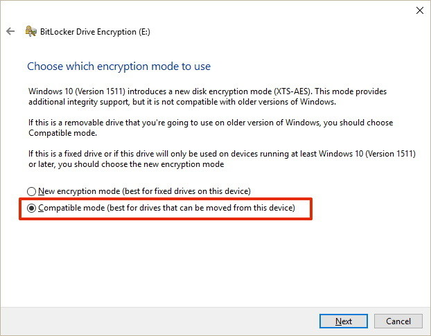 Use BitLocker compatibility mode