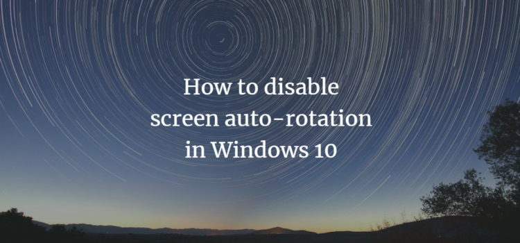 Windows Screen Auto Rotation