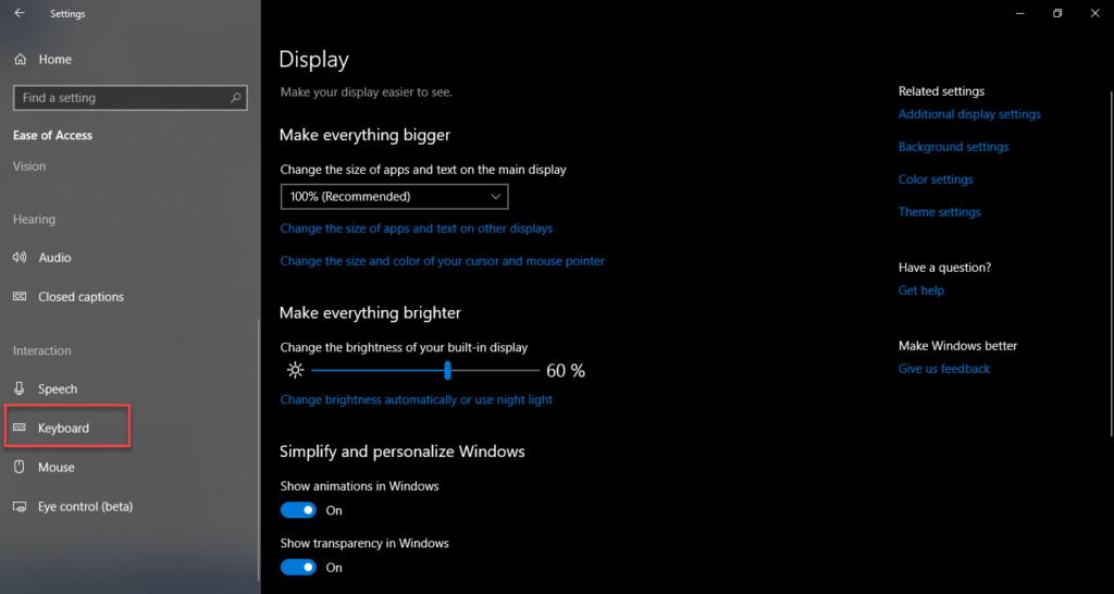 , How to highlight and underline menu shortcut keys in Windows 10