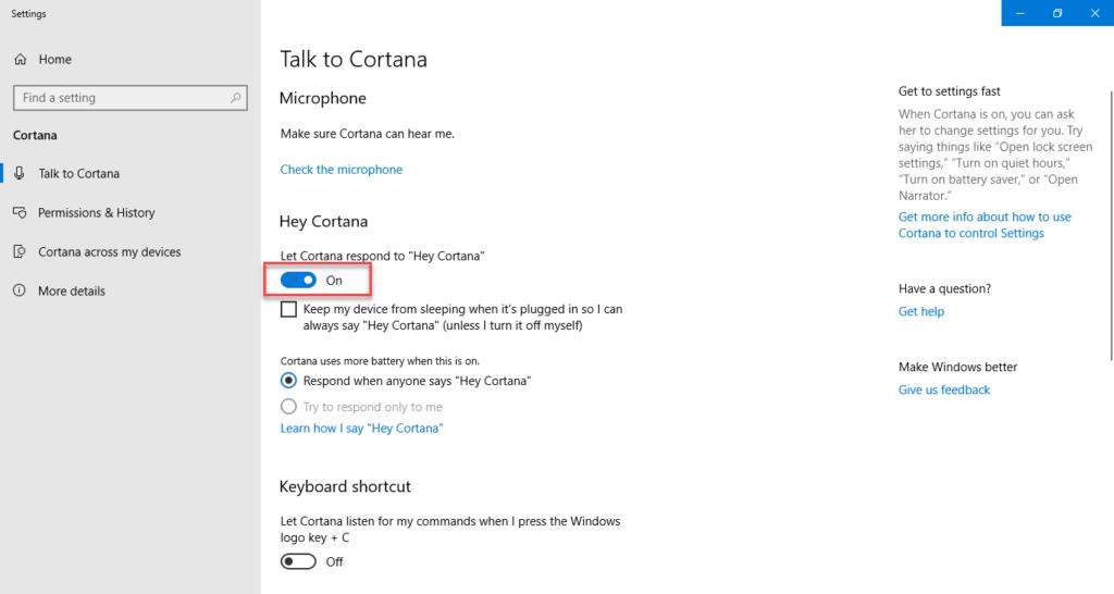 Enable Hey Cortana