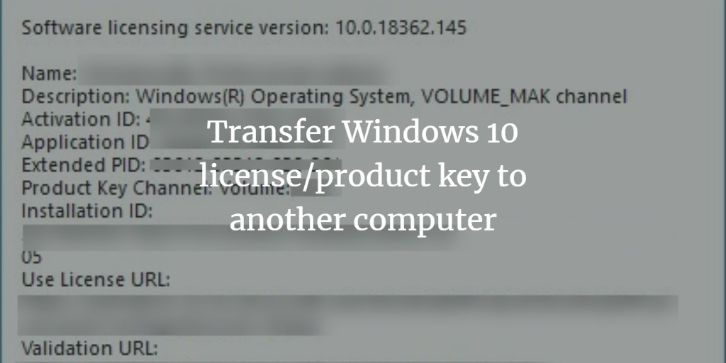Windows license transfer