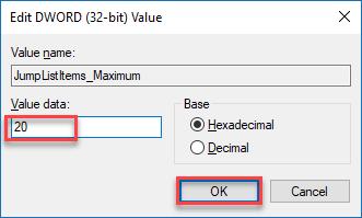 Set max number of jump list items