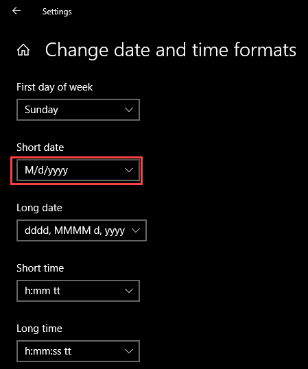 Chose short date format