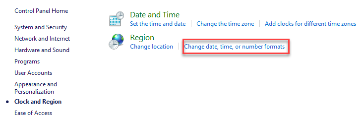 Change date, time and number formats
