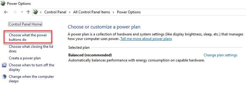 Choose power plan