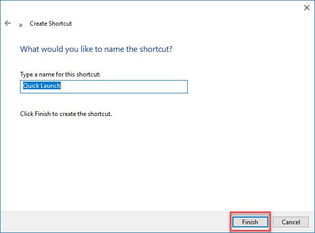 Give shortcut a name