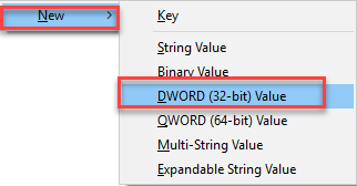Add new DWORD value