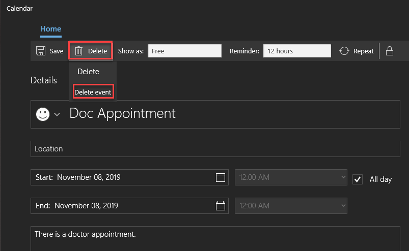 , How to add, view and delete Windows 10 taskbar calendar events
