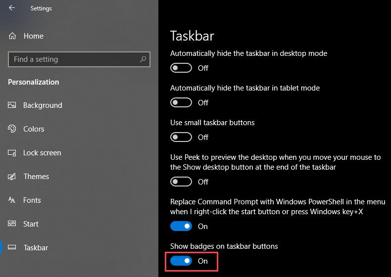 Show badges on Taskbar Buttons