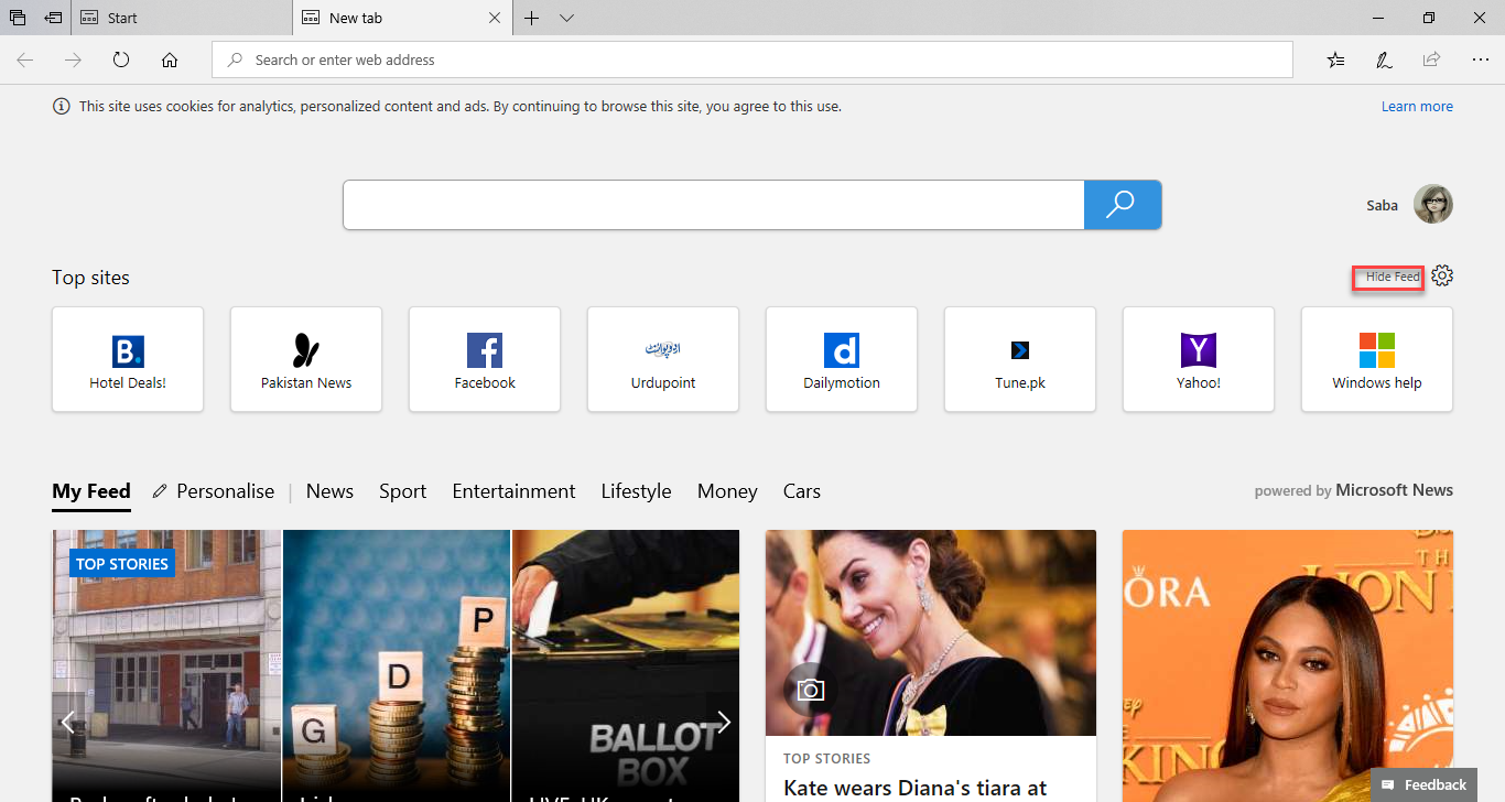 , How to disable articles on the Start and New tab pages of Microsoft Edge in Windows 10