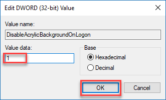 , How to avoid background blur of the login screen on Windows 10
