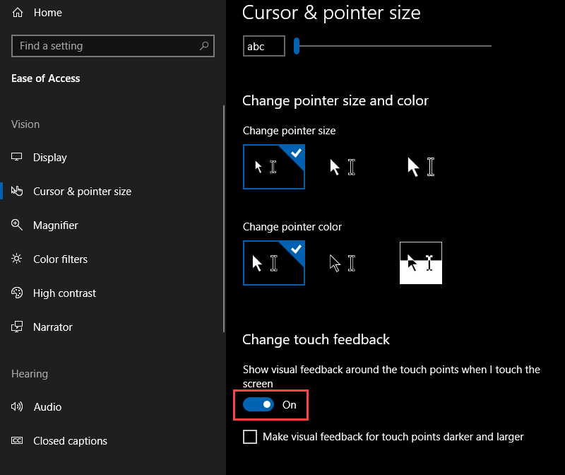 , How to disable Touch Screen Feedback Circles on Windows 10