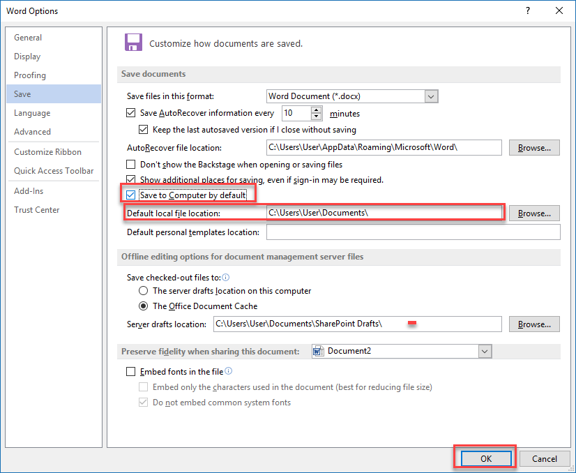, How to save Office documents to 'This PC' by default in Windows 10