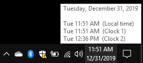 , How to display multiple time zone clocks in the Taskbar of Windows 10