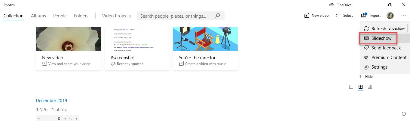Choose Slideshow from sub menu