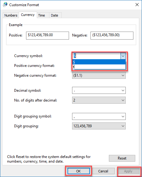 , How to change Windows' default currency in Windows 10 from Dollar to Euro
