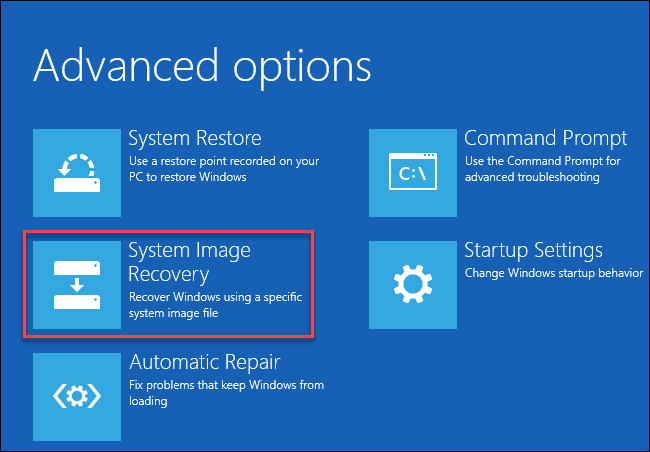 , How to restore backups of system images on Windows 10
