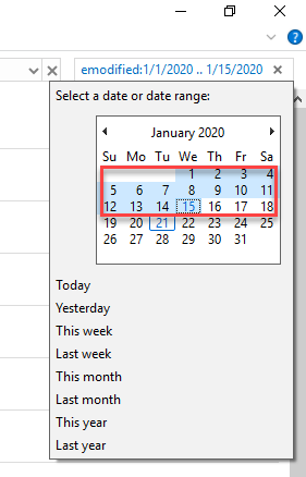 , How to search for files in Windows 10 from a certain date range