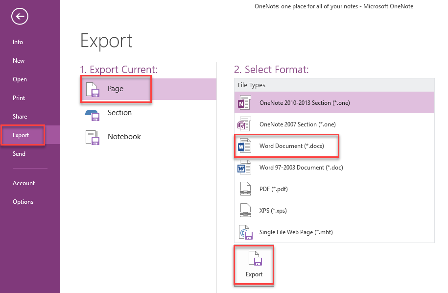 , How to export your OneNote Notes to different File Formats in Windows 10