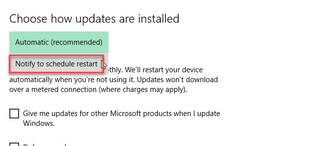 , How to schedule restart for updates in Windows 10