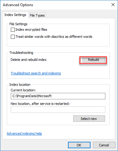 , How to speed up, disable or rebuild the Search Index for Windows 10