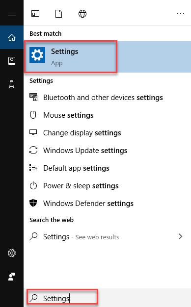 Start the settings app