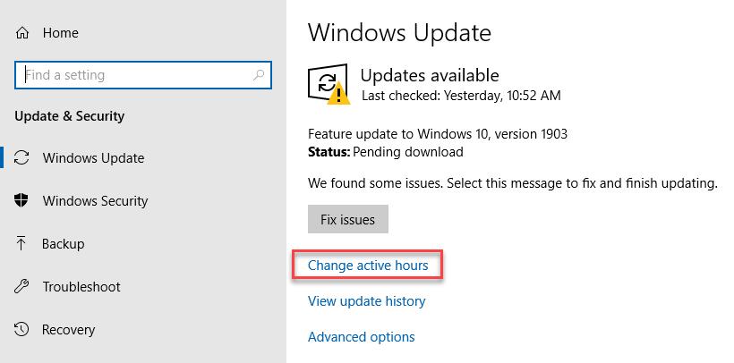Change active hours