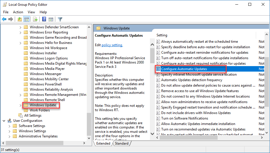 Computer Configuration\Administrative Templates\Windows Components\Windows Update