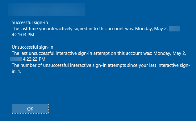 , How to view earlier logon information on Windows 10 Sign in screen