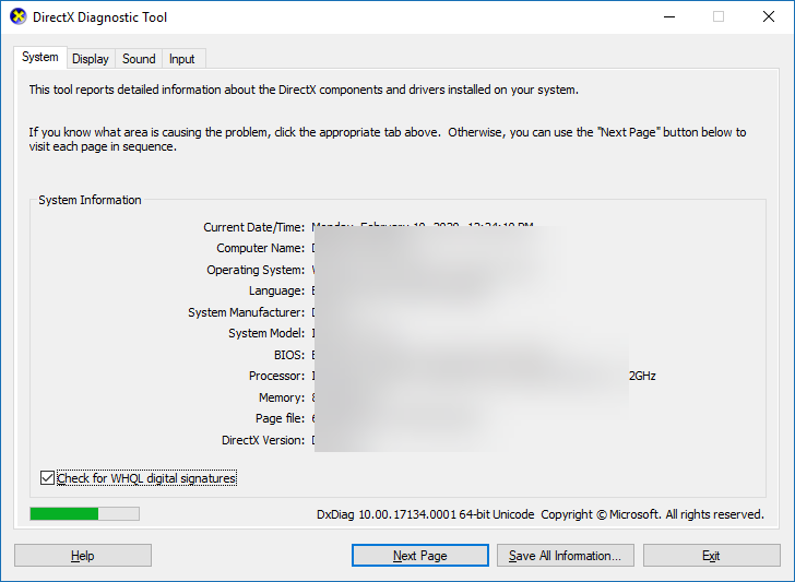 , How to use the DirectX Diagnostic in Windows 10