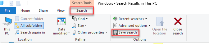 , How to save Quick Access Searches in Windows 10