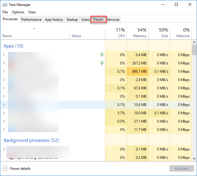 Details tab of taskmanager