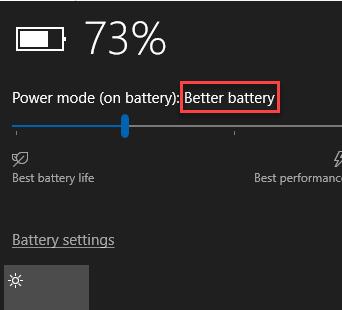 Power mode on battery