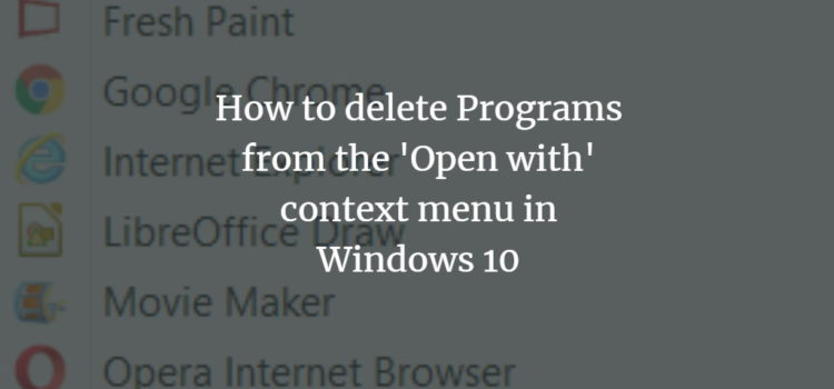 WIndows Open With Context Menu