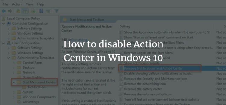 Disable Windows Action Center