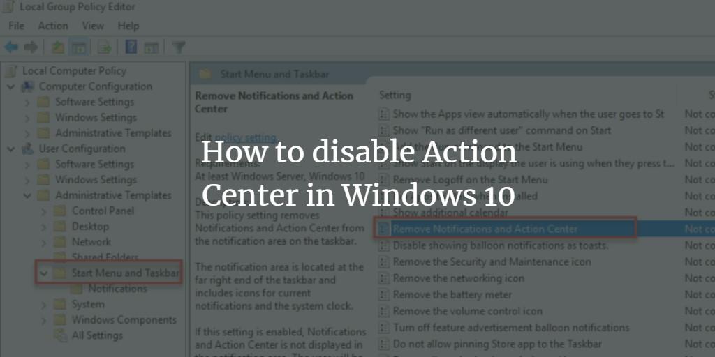 Disable Windows Action Center