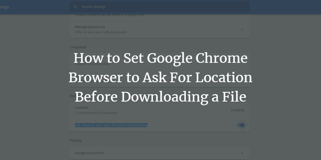 Chrome Browser Download Location