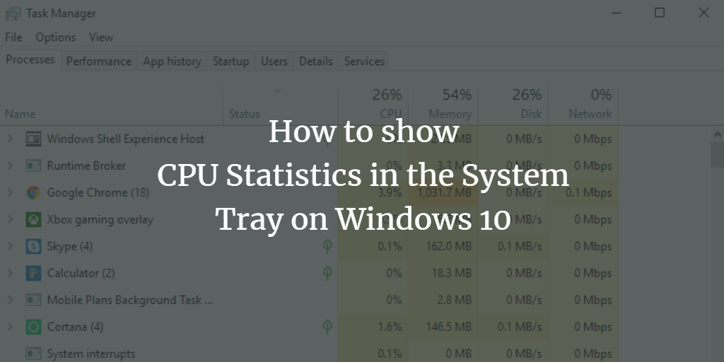 CPU Usage stats in System Tray