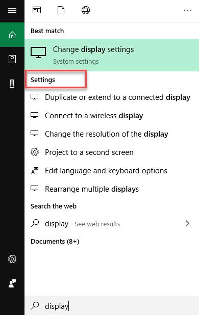 Settings in Start menu