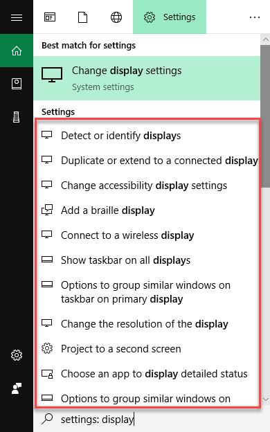 Detailed settings menu