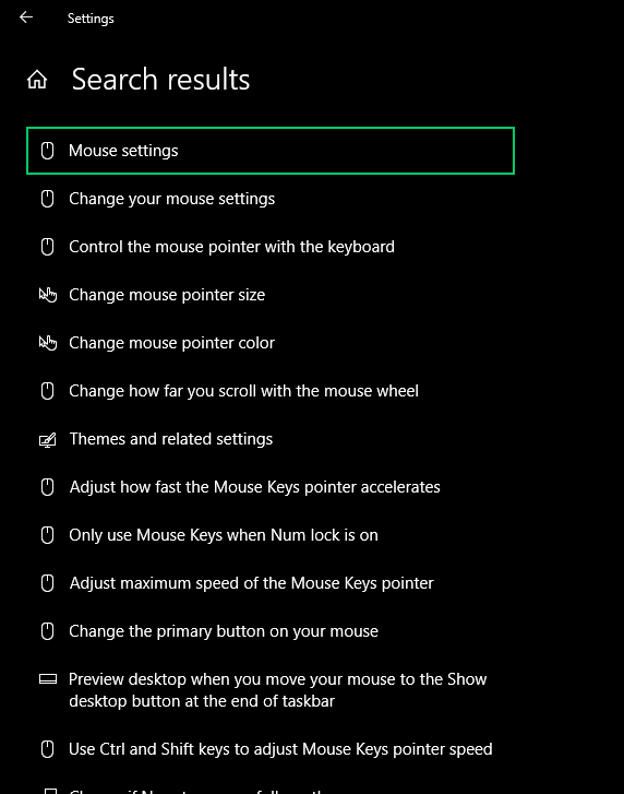 Example: Mouse settings