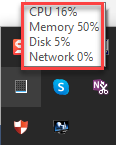 CPU and memory usage in system tray