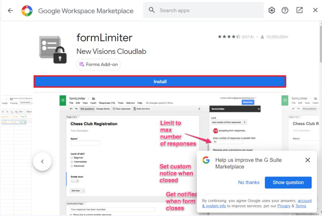 Install Form Limiter