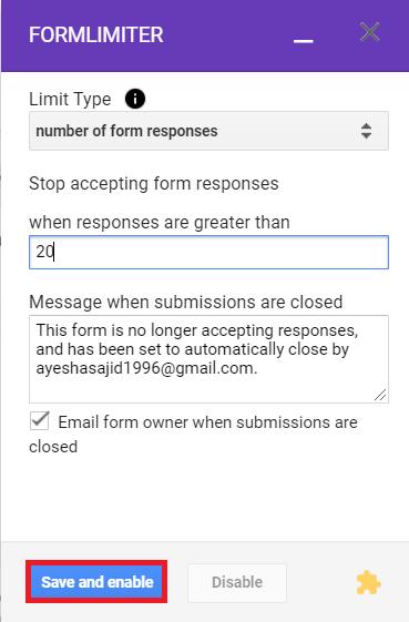 Set response limit